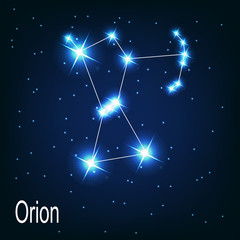"""The constellation """"Orion"""" star in the night sky. Vector illustra"""