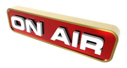 """""""On Air"""" sign. Computer generated 3D photo rendering."""