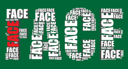 face typography 3d text word face art vector illustration word