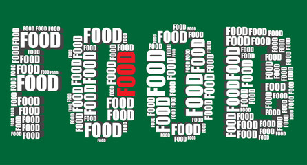 food typography 3d text word food art vector illustration word c