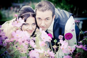 Beautiful wedding couple.  Young wedding couple