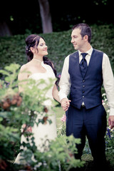 Beautiful wedding couple.  Young wedding couple
