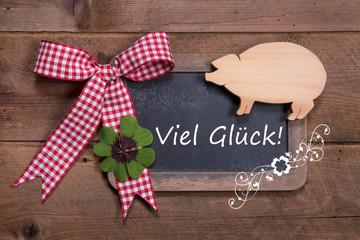 Viel Glück im Neuen Jahr - Glückwunschkarte mit Klee und Schwein
