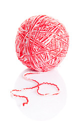 wool yarn ball isolated on white.   ball of yarn for knitting