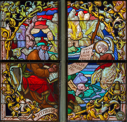 Mechelen - Prophet Jeremiah from windowpane of  cathedral
