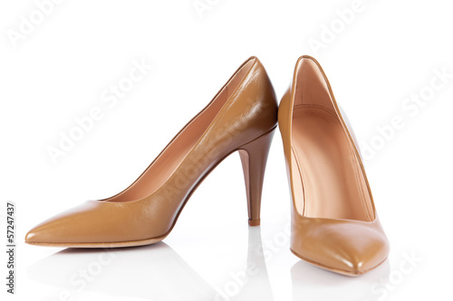 Woman shoes isolated on white.
