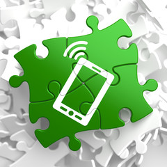 Smartphone Icon on Green Puzzle.