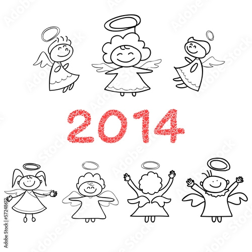 hand drawings cartoon angel New Year Celebration