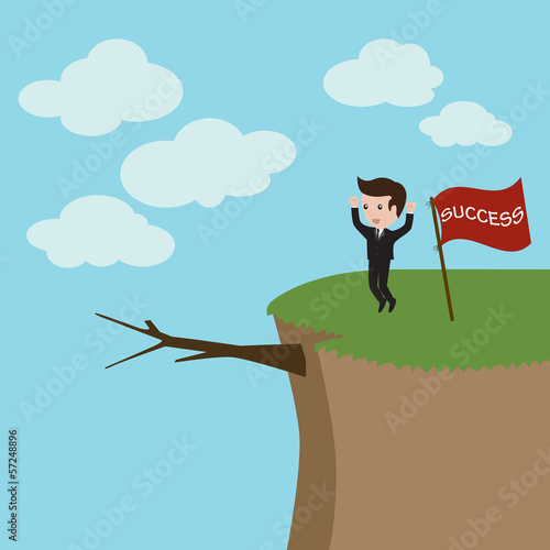 Businessman standing on the high mountain. Businessman and solut