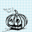 halloween pumpkin sketch on graph paper vector