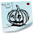 halloween pumpkin sketch on sticky  paper vector
