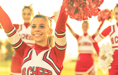 Portrait of a cheerleeder in action