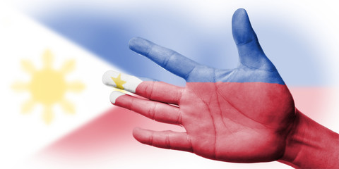 Cheering fan with Painting national Philippines flag