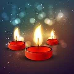 Diwali Holiday illustration of burning diya colorful background
