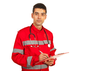 Paramedic man taking notes