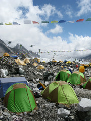Tents on Everest Base Camp at the foot of Mount Everest in Nepal