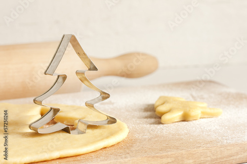 Christmas baking food concept with tree and dough