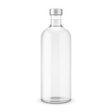 Glass vodka bottle with silver cap.