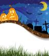 Funny Jack o lanterns on a cemetery