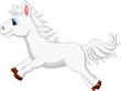 Cute white pony horse running