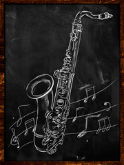 Saxophone drawing sketching on blackboard