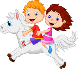 Boy and girl riding a pony horse