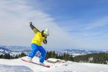 Snowboarding mit Aussicht