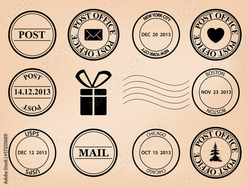 set - vector post stamps