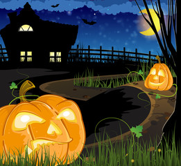 Jack o Lanterns on the path