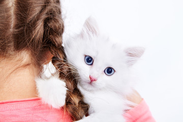Girl with white kitty