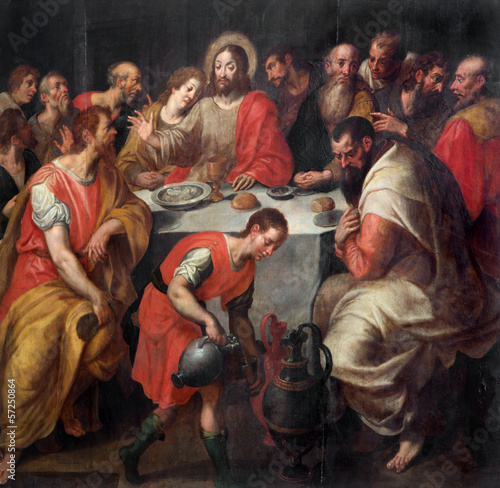 Mechelen - Baroque paint of The Last supper from cathedral