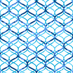 Abstract blue lattice on white grunge seamless pattern, vector
