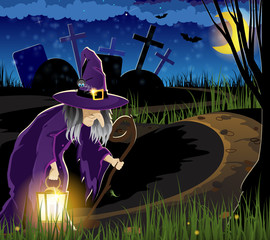Witch goes to the cemetery