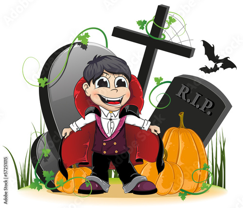 Vampire and pumpkins on the cemetery