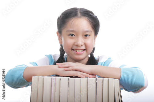 Student girl holding books