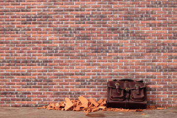 abandoned bag on a brick wall