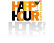 Happy Hour logo con cocktail