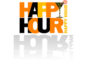 Happy Hour logo con cocktail