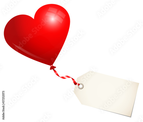 Red Balloon Heart & Label