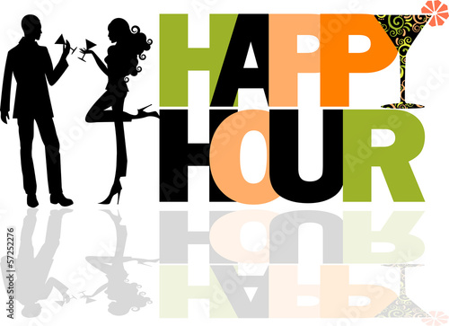 Happy Hour logo con coppia