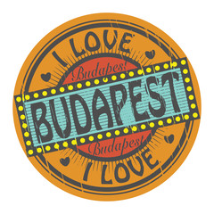 Grunge color stamp with text I Love Budapest inside, vector