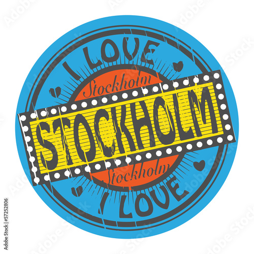 Grunge color stamp with text I Love Stockholm inside, vector