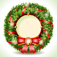 Wreath Christmas with Red Ribbon