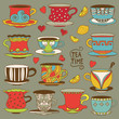 Set vintage icons tea cup, lemons, hearts and tea bags
