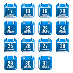 December vector flat calendar icons. Days Of Year Set 5