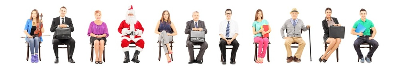 Group of people with different profession sitting on chairs