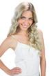 Cheerful sensual model in white dress posing