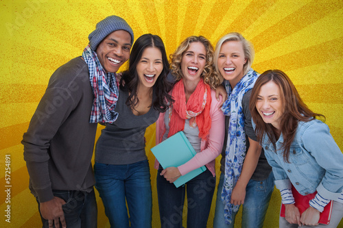 Cheerful group of friends posing together