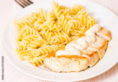 chicken breast with Fusilli pasta