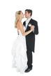 Happy married couple dancing viennese waltz